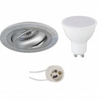 LED Spot Set - Aigi - Pragmi Alpin Pro - GU10 Fitting - Inbouw Rond - Mat Zilver - 8W - Warm Wit 3000K - Kantelbaar Ø92mm