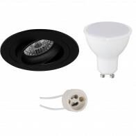 LED Spot Set - Pragmi Alpin Pro - GU10 Fitting - Inbouw Rond - Mat Zwart - 4W - Natuurlijk Wit 4200K - Kantelbaar Ø92mm