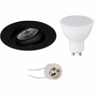 LED Spot Set - Aigi - Pragmi Alpin Pro - GU10 Fitting - Inbouw Rond - Mat Zwart - 8W - Warm Wit 3000K - Kantelbaar Ø92mm