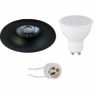 LED Spot Set - Aigi - Pragmi Nora Pro - GU10 Fitting - Inbouw Rond - Mat Zwart - 8W - Warm Wit 3000K - Ø82mm