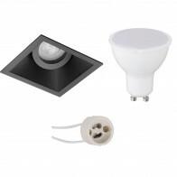 LED Spot Set - Pragmi Zano Pro - GU10 Fitting - Inbouw Vierkant - Mat Zwart - 6W - Helder/Koud Wit 6400K - Kantelbaar - 93mm
