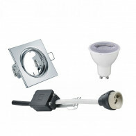 LED Spot Set - Trion - GU10 Fitting - Dimbaar - Inbouw Vierkant - Glans Chroom - 6W - Helder/Koud Wit 6400K - Kantelbaar 80mm