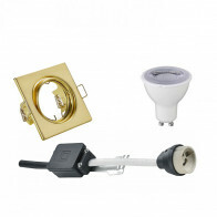 LED Spot Set - Trion - GU10 Fitting - Dimbaar - Inbouw Vierkant - Mat Goud - 6W - Helder/Koud Wit 6400K - Kantelbaar 80mm