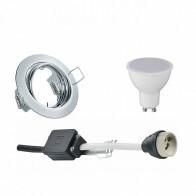 LED Spot Set - Trion - GU10 Fitting - Inbouw Rond - Glans Chroom - 4W - Natuurlijk Wit 4200K - Kantelbaar Ø83mm