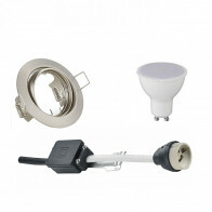 LED Spot Set - Trion - GU10 Fitting - Inbouw Rond - Mat Nikkel - 6W - Warm Wit 3000K - Kantelbaar Ø83mm