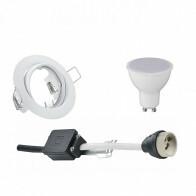 LED Spot Set - Trion - GU10 Fitting - Inbouw Rond - Mat Wit - 6W - Helder/Koud Wit 6400K - Kantelbaar Ø83mm