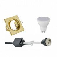 LED Spot Set - Trion - GU10 Fitting - Inbouw Vierkant - Mat Goud - 4W - Warm Wit 3000K - Kantelbaar 80mm