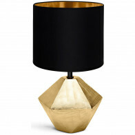 LED Tafellamp - Tafelverlichting - Aigi Uynimo - E14 Fitting - Rond - Mat Zwart/Goud - Keramiek