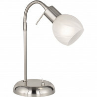 LED Tafellamp - Trion Besina - E14 Fitting - Flexibele Arm - Rond - Mat Nikkel - Aluminium