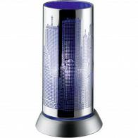 LED Tafellamp - Trion Cotin - E14 Fitting - Rond - Blauw Licht - Mat Chroom - Aluminium