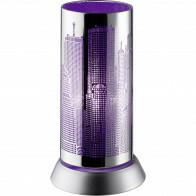 LED Tafellamp - Trion Cotin - E14 Fitting - Rond - Lilla Licht - Mat Chroom - Aluminium