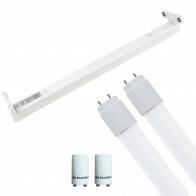 LED TL Armatuur met T8 Buis Incl. Starter - Aigi Dybolo - 60cm Dubbel - 16W - Natuurlijk Wit 4200K - Beschermingsgraad IP20