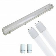 LED TL Armatuur met T8 Buis Incl. Starter - Aigi Hari - 150cm Dubbel - 44W - Helder/Koud Wit 6400K - Waterdicht IP65