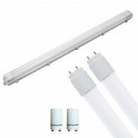 LED TL Armatuur met T8 Buis Incl. Starter - Pragmi Housing Pro - 120cm Dubbel - 32W - Natuurlijk Wit 4200K - Waterdicht IP65