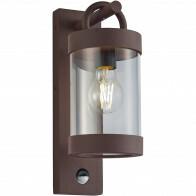 LED Tuinverlichting met Bewegingssensor - Wandlamp Buitenlamp - Trion Semby - E27 Fitting - Rond - Roestkleur - Aluminium
