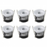 LED Veranda Spot Verlichting 6 Pack - Inbouw Rond 1W - Natuurlijk Wit 4200K - Mat Wit Aluminium - Ø41mm