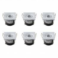LED Veranda Spot Verlichting 6 Pack - Inbouw Vierkant 1W - Natuurlijk Wit 4200K - Mat Wit Aluminium - 40mm