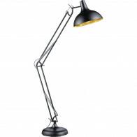 LED Vloerlamp - Trion Salvy - E27 Fitting - 1-lichts - Verstelbaar - Rond - Mat Zwart - Aluminium