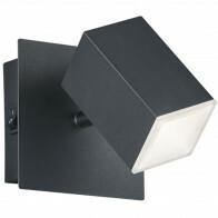 LED Wandspot - Trion Laginos - 8W - Warm Wit 3000K - 1-lichts - Vierkant - Mat Zwart - Aluminium