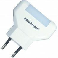 MEGAMAN - Stekkerlamp Lamp - Stekkerspot met Stopcontact - Hatso - 0.2W - Warm Wit 2700K - Rond - Mat Wit - PVC