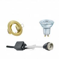 OSRAM - LED Spot Set - Parathom PAR16 930 36D - GU10 Fitting - Dimbaar - Inbouw Rond - Mat Goud - 5.5W - Warm Wit 3000K - Kantelbaar Ø83mm