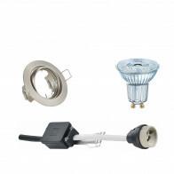 OSRAM - LED Spot Set - Parathom PAR16 930 36D - GU10 Fitting - Dimbaar - Inbouw Rond - Mat Nikkel - 5.5W - Warm Wit 3000K - Kantelbaar Ø83mm