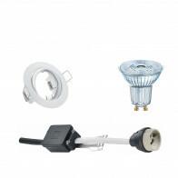 OSRAM - LED Spot Set - Parathom PAR16 930 36D - GU10 Fitting - Dimbaar - Inbouw Rond - Mat Wit - 3.7W - Warm Wit 3000K - Kantelbaar Ø83mm