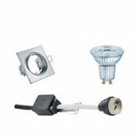 OSRAM - LED Spot Set - Parathom PAR16 940 36D - GU10 Fitting - Dimbaar - Inbouw Vierkant - Glans Chroom - 3.7W - Natuurlijk Wit 4000K - Kantelbaar 80mm