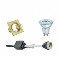 OSRAM - LED Spot Set - Parathom PAR16 930 36D - GU10 Fitting - Dimbaar - Inbouw Vierkant - Mat Goud - 5.5W - Warm Wit 3000K - Kantelbaar 80mm