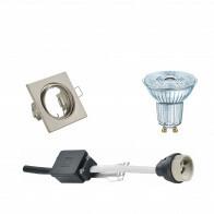 OSRAM - LED Spot Set - Parathom PAR16 927 36D - GU10 Fitting - Dimbaar - Inbouw Vierkant - Mat Nikkel - 3.7W - Warm Wit 2700K - Kantelbaar 80mm