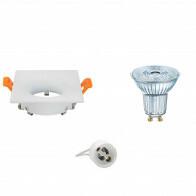 OSRAM - LED Spot Set - Parathom PAR16 927 36D - GU10 Fitting - Dimbaar - Inbouw Vierkant - Mat Wit - 3.7W - Warm Wit 2700K - 85mm