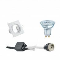 OSRAM - LED Spot Set - Parathom PAR16 927 36D - GU10 Fitting - Dimbaar - Inbouw Vierkant - Mat Wit - 5.5W - Warm Wit 2700K - Kantelbaar 80mm