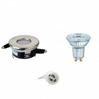 OSRAM - LED Spot Set - Parathom PAR16 930 36D - Aigi - GU10 Fitting - Waterdicht IP65 - Dimbaar - Inbouw Rond - Mat Chroom - 3.7W - Warm Wit 3000K - Ø82mm