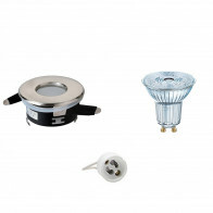OSRAM - LED Spot Set - Parathom PAR16 930 36D - Aigi - GU10 Fitting - Waterdicht IP65 - Dimbaar - Inbouw Rond - Mat Chroom - 5.5W - Warm Wit 3000K - Ø82mm