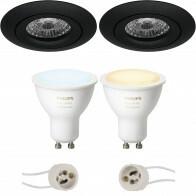 Pragmi Uranio Pro - Inbouw Rond - Mat Zwart - Kantelbaar - Ø82mm - Philips Hue - LED Spot Set GU10 - White Ambiance - Bluetooth