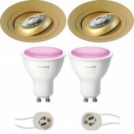 PHILIPS HUE - LED Spot Set GU10 - White and Color Ambiance - Bluetooth - Pragmi Alpin Pro - Inbouw Rond - Mat Goud - Kantelbaar - Ø92mm