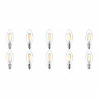 PHILIPS - LED Lamp 10 Pack Filament - Classic LEDCandle 827 B35 CL - E14 Fitting - 2W - Warm Wit 2700K | Vervangt 25W