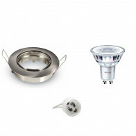 PHILIPS - LED Spot Set - CorePro 830 36D - GU10 Fitting - Dimbaar - Inbouw Rond - Mat Chroom - 4W - Warm Wit 2700K - Kantelbaar Ø90mm