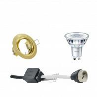 PHILIPS - LED Spot Set - CorePro 827 36D - GU10 Fitting - Dimbaar - Inbouw Rond - Mat Goud - 5W - Warm Wit 2700K - Kantelbaar Ø83mm