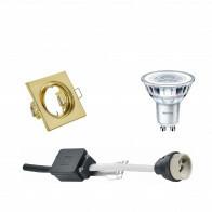 PHILIPS - LED Spot Set - CorePro 840 36D - GU10 Fitting - Dimbaar - Inbouw Vierkant - Mat Goud - 5W - Natuurlijk Wit 4000K - Kantelbaar 80mm