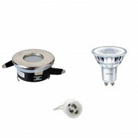 PHILIPS - LED Spot Set - CorePro 830 36D - Aigi - GU10 Fitting - Waterdicht IP65 - Dimbaar - Inbouw Rond - Mat Chroom - 4W - Warm Wit 3000K - Ø82mm