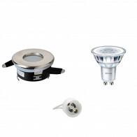 PHILIPS - LED Spot Set - CorePro 830 36D - Aigi - GU10 Fitting - Waterdicht IP65 - Dimbaar - Inbouw Rond - Mat Chroom - 4W - Warm Wit 2700K - Ø82mm