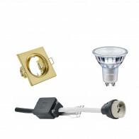 PHILIPS - LED Spot Set - MASTER 927 36D VLE - GU10 Fitting - DimTone Dimbaar - Inbouw Vierkant - Mat Goud - 3.7W - Warm Wit 2200K-2700K - Kantelbaar 80mm
