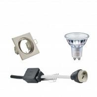 PHILIPS - LED Spot Set - MASTER 927 36D VLE - GU10 Fitting - DimTone Dimbaar - Inbouw Vierkant - Mat Nikkel - 4.9W - Warm Wit 2200K-2700K - Kantelbaar 80mm