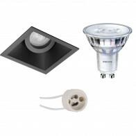 PHILIPS - LED Spot Set - SceneSwitch 827 36D - Pragmi Zano Pro - GU10 Fitting - Dimbaar - Inbouw Vierkant - Mat Zwart - 1.5W-5W - Warm Wit 2200K-2700K - Kantelbaar - 93mm