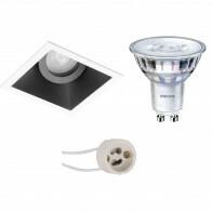 PHILIPS - LED Spot Set - SceneSwitch 827 36D - Pragmi Zano Pro - GU10 Fitting - Dimbaar - Inbouw Vierkant - Mat Zwart/Wit - 1.5W-5W - Warm Wit 2200K-2700K - Kantelbaar - 93mm