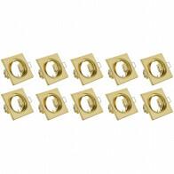 Spot Armatuur 10 Pack - Trion - GU10 Fitting - Inbouw Vierkant - Mat Goud Aluminium - Kantelbaar 80mm