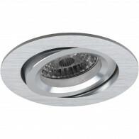Spot Armatuur GU10 - Pragmi Aerony Pro - Inbouw Rond - Mat Zilver - Aluminium - Kantelbaar - Ø82mm