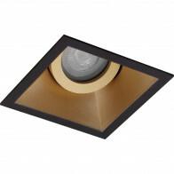 Spot Armatuur GU10 - Pragmi Zano Pro - Inbouw Vierkant - Mat Zwart/Goud - Aluminium - Kantelbaar - 93mm