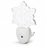 Stekkerlamp Lamp - Stekkerspot met Dag en Nacht Sensor - Aigi Essi - 0.5W - RGB - Rond - Mat Wit - Kunststof - Sneeuwvlok